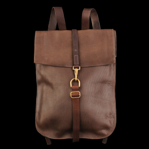 Leather Postal Backpack in Walnut
