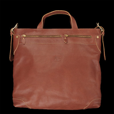 Il Bisonte - Zip-Top Tote Bag with Shoulder Strap in Cognac