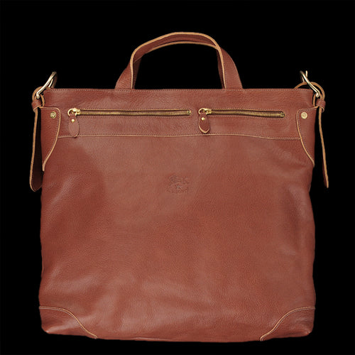 Zip-Top Tote Bag with Shoulder Strap in Cognac