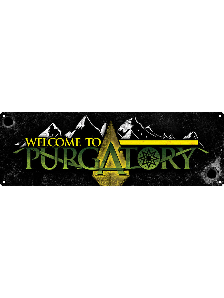 Welcome To Purgatory Slim Tin Sign