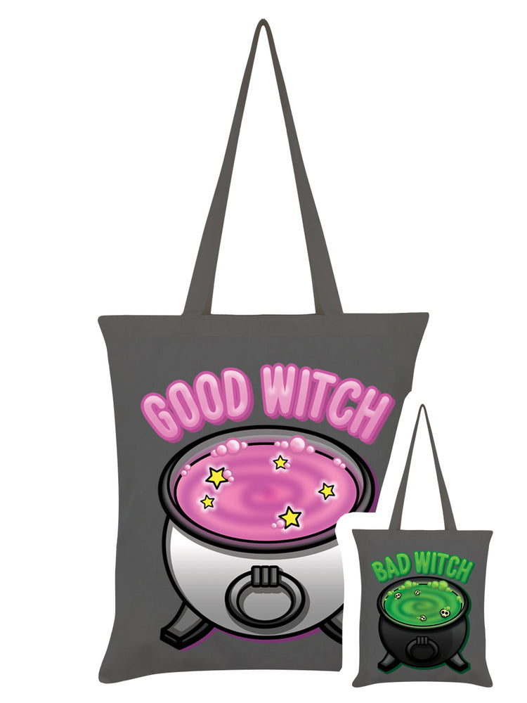 Good Witch Bad Witch Graphite Grey Double Sided Tote Bag