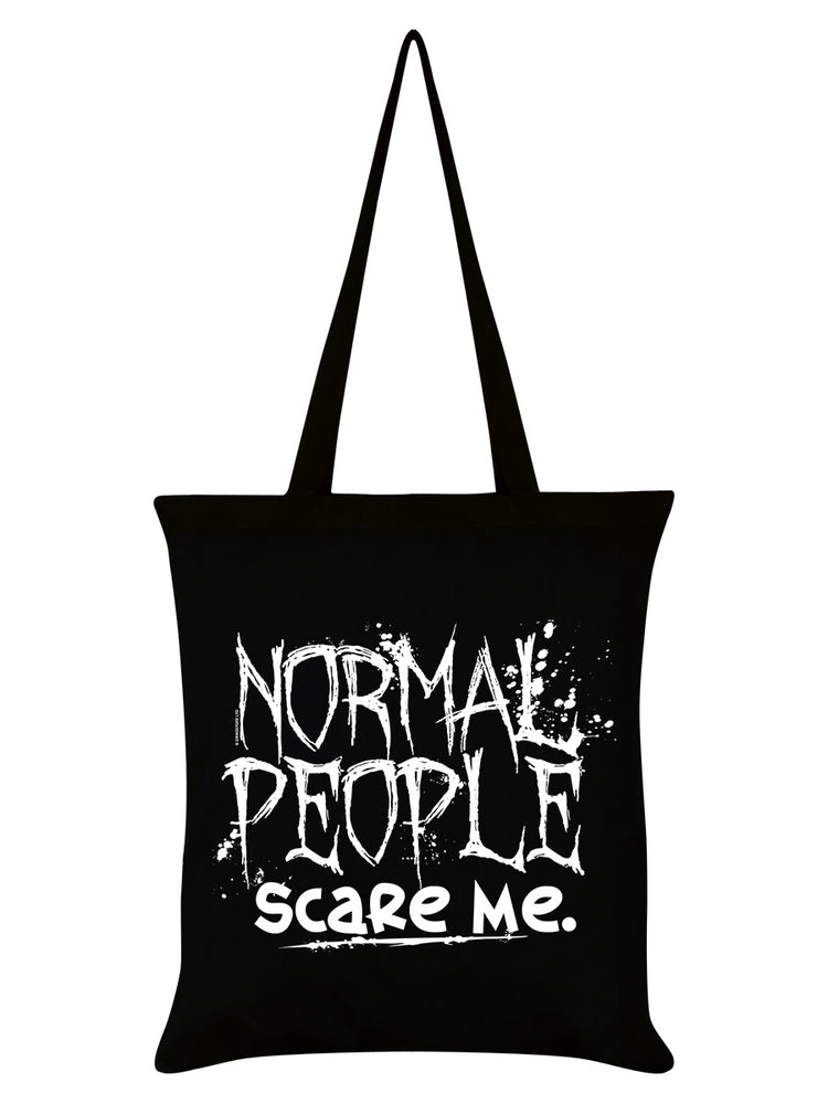 Normal People Scare Me Black Tote Bag
