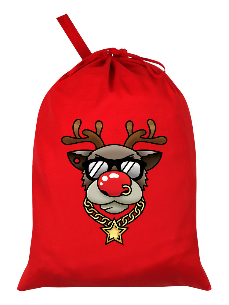 Bling Rudolph Red Santa Sack