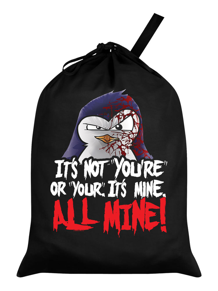 Psycho Penguin It's Mine All Mine Black Santa Sack