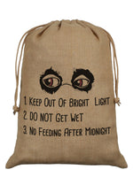 Keep Out Of Bright Light Hessian Santa Sack