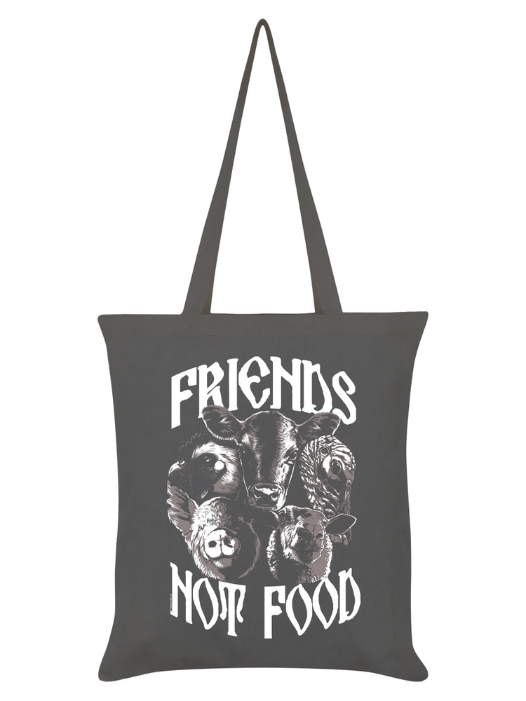 Friends Not Food Graphite Grey Tote Bag