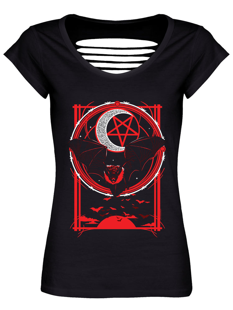 Goth Bat Ladies Black Razor Back T-Shirt