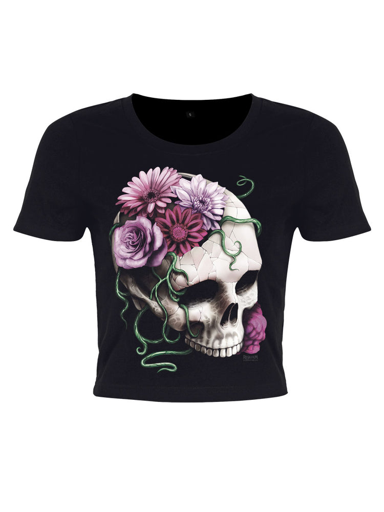 Requiem Collective Cranial Bloom Ladies Black Crop Top