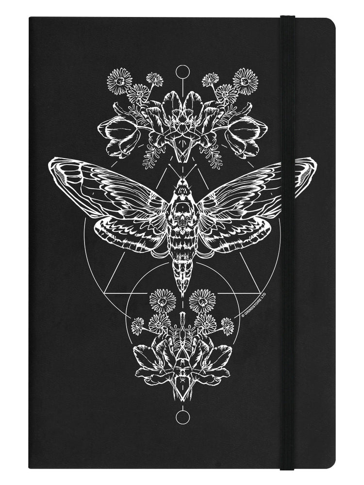 Death Head Moth Black A5 Hard Cover Notebook