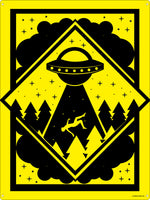 Warning! Alien Abduction Zone Tin Sign