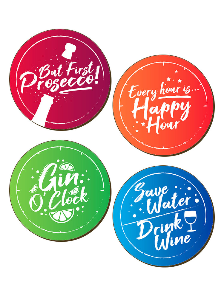 Every Hour Is Happy Hour 4 Piece Coaster Set