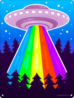 Rainbow Beam UFO Mini Tin Sign