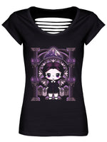 Mio Moon Miss Addams Black Razor Back T-Shirt