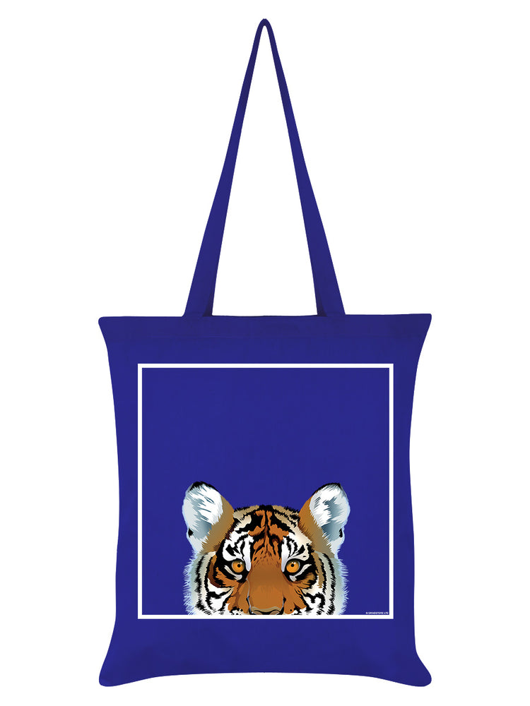 Inquisitive Creatures Tiger Royal Blue Tote Bag