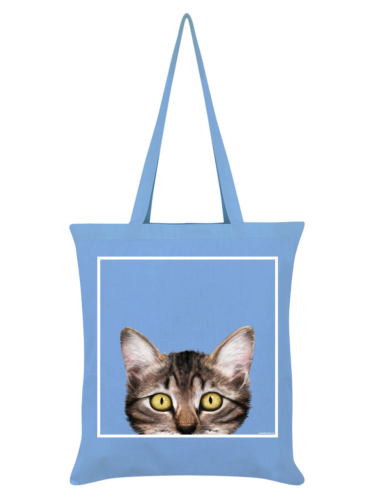 Inquisitive Creatures Kitten Sky Blue Tote Bag