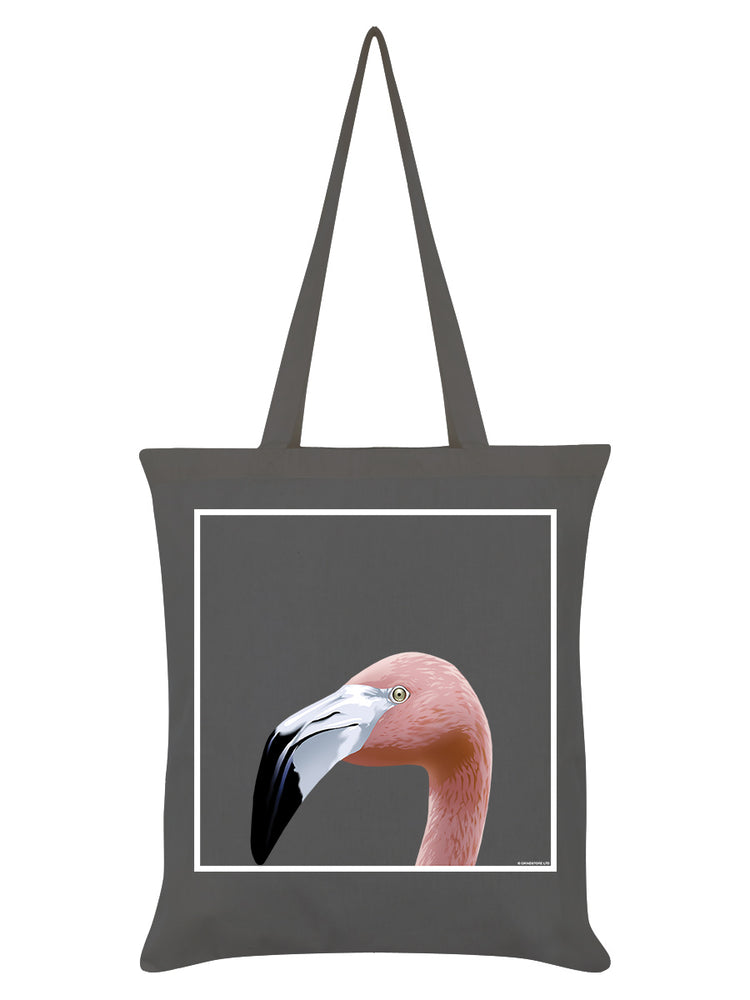 Inquisitive Creatures Flamingo Graphite Grey Tote Bag