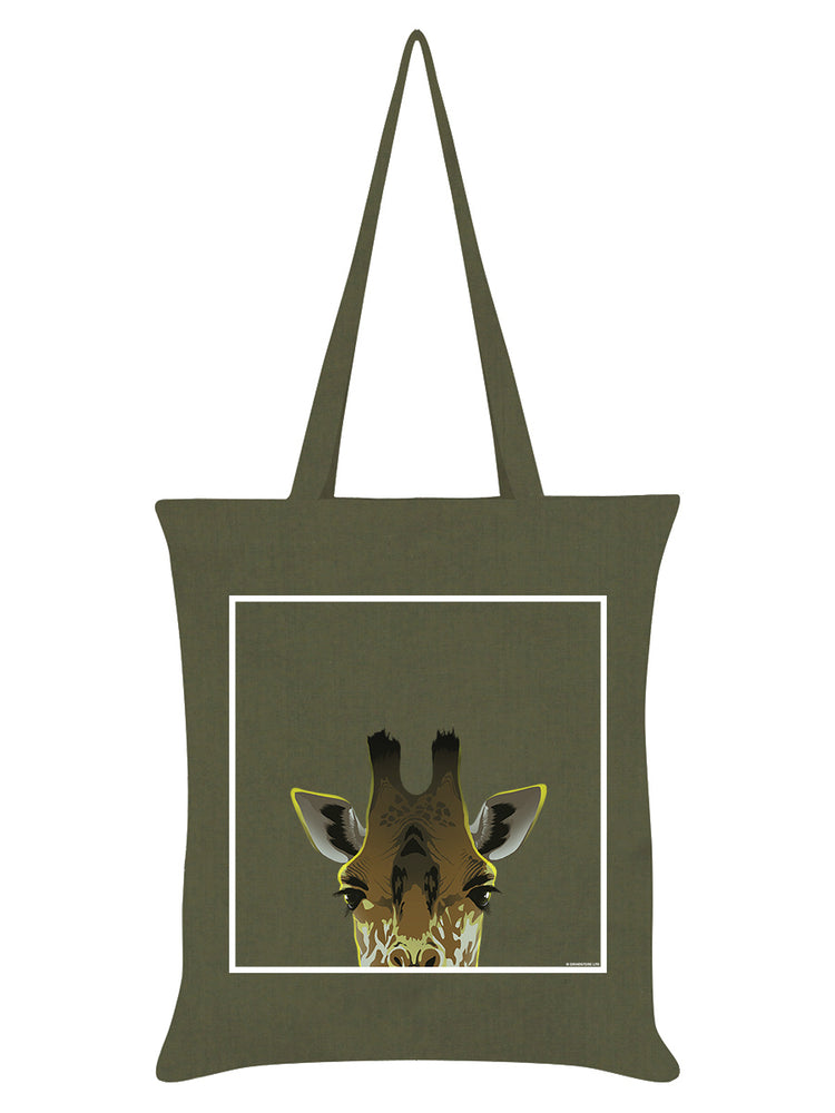 Inquisitive Creatures Giraffe Olive Green Tote Bag