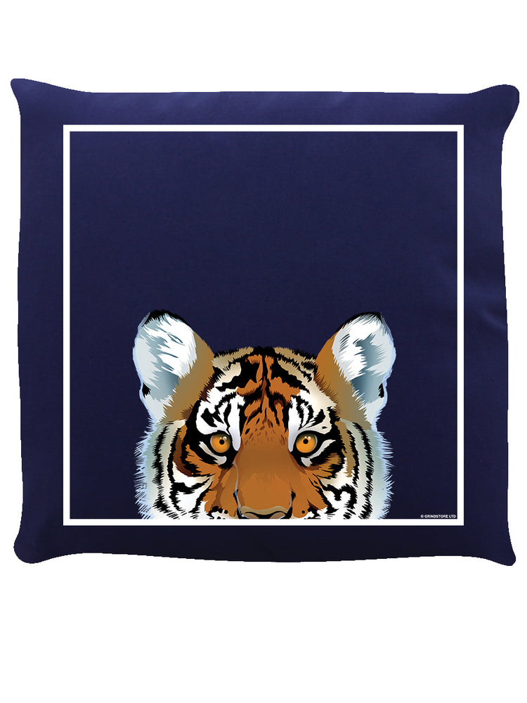 Inquisitive Creatures Tiger Navy Blue Cushion Cushion