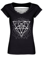 Pentagram Eye Ladies Black Razor Back T-Shirt