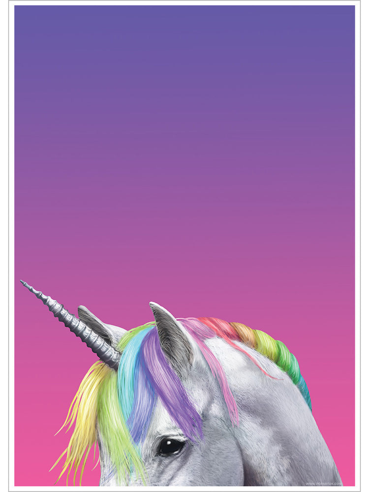 Inquisitive Creatures Rainbow Unicorn Mini Poster