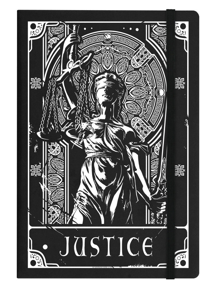 Deadly Tarot - Justice Black A5 Hard Cover Notebook