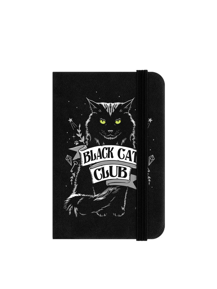 Black Cat Club Mini Black Notebook