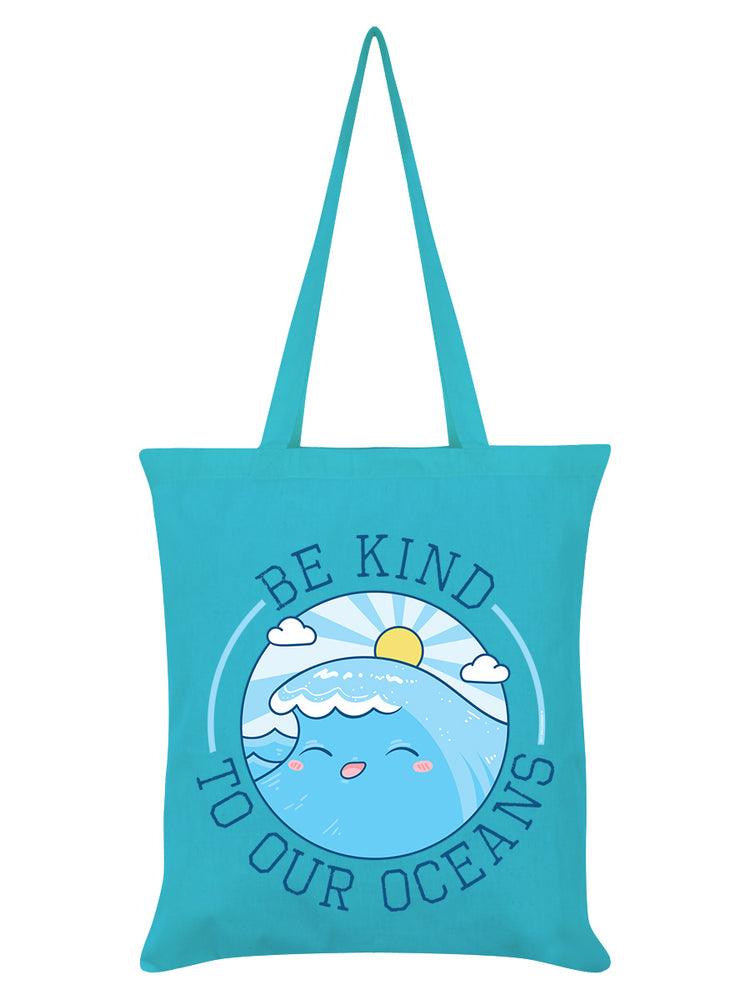 Be Kind To Our Oceans Azure Blue Tote Bag