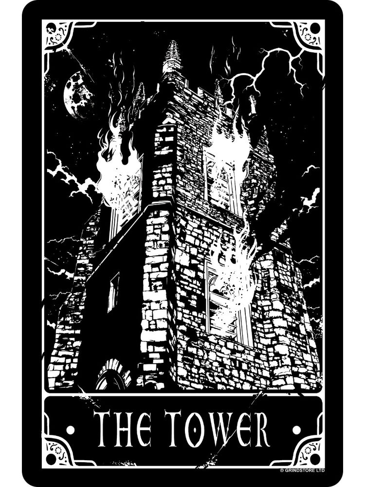 Deadly Tarot - The Tower Small Tin Sign