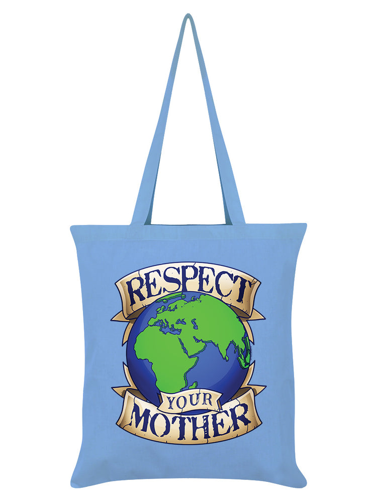 Respect Your Mother Earth Sky Blue Tote Bag