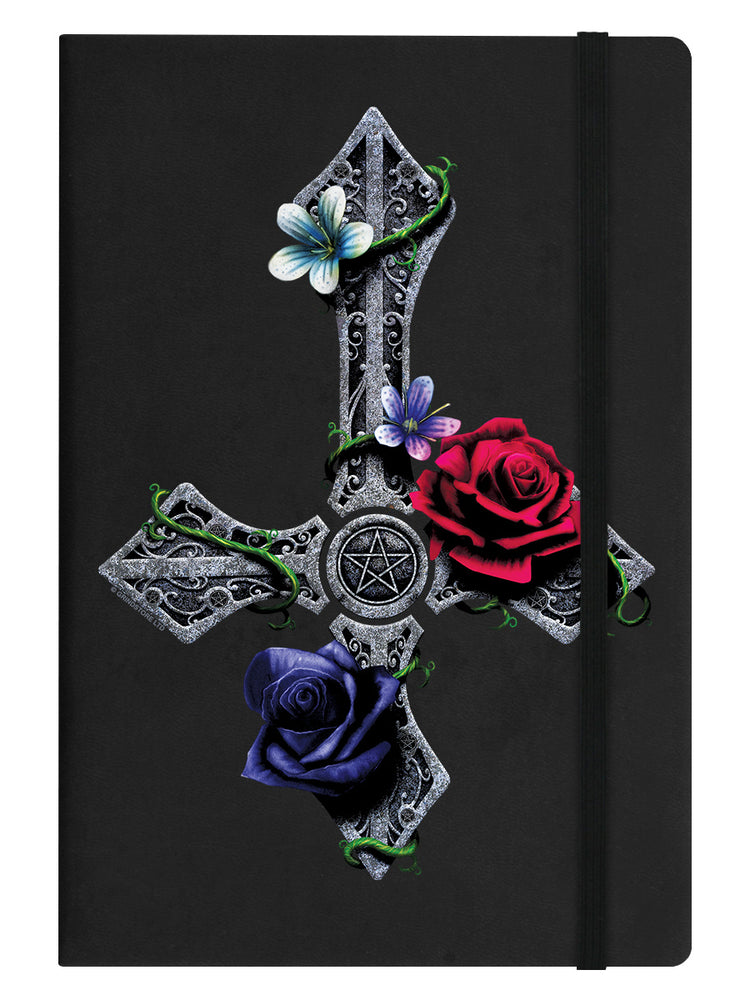 Requiem Collective Floral Cross Black A5 Hard Cover Notebook