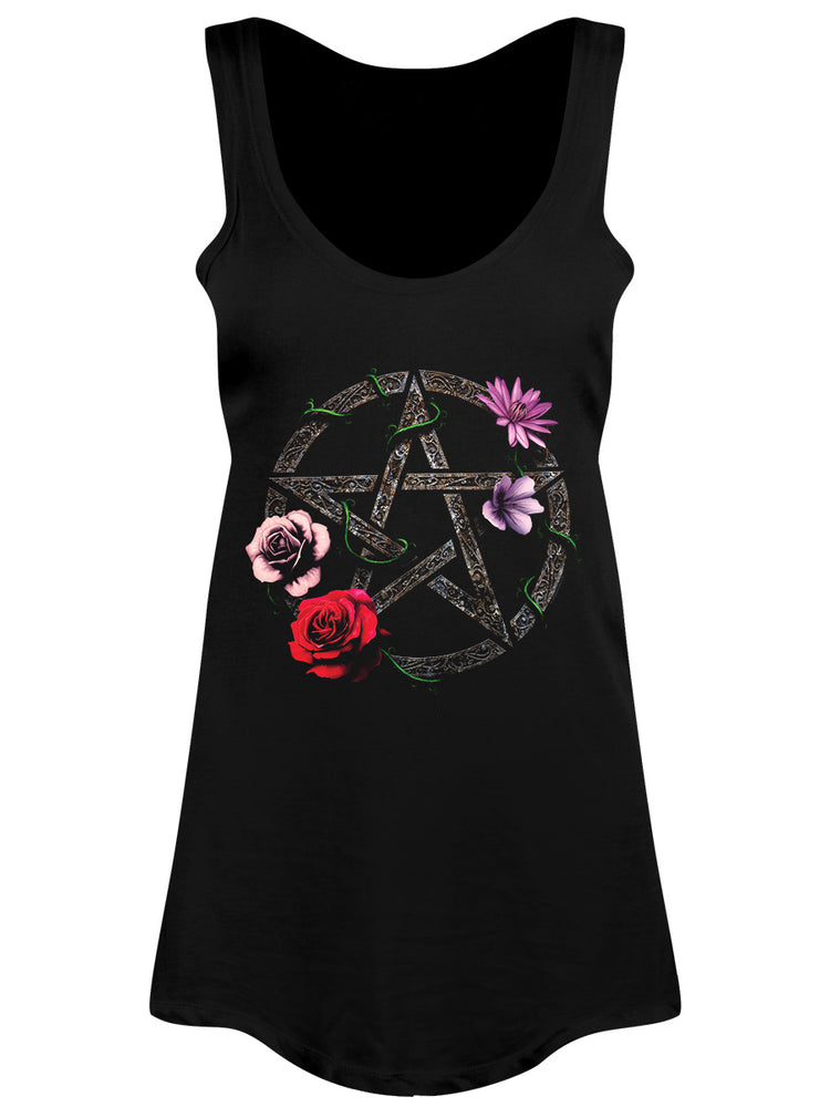 Requiem Collective Floral Pentagram Ladies Black Floaty Vest