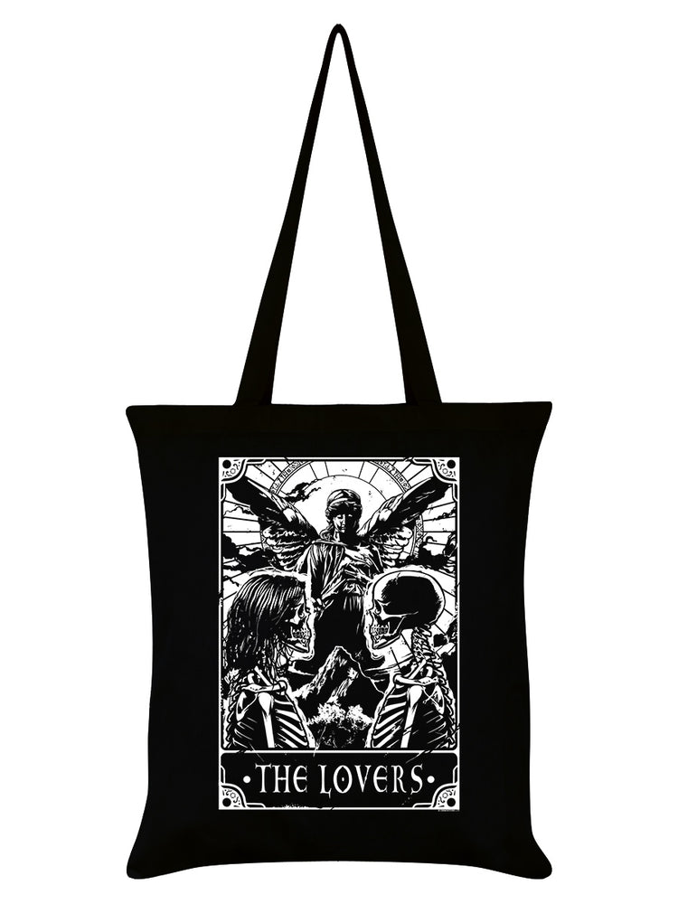 Deadly Tarot - The Lovers Black Tote Bag