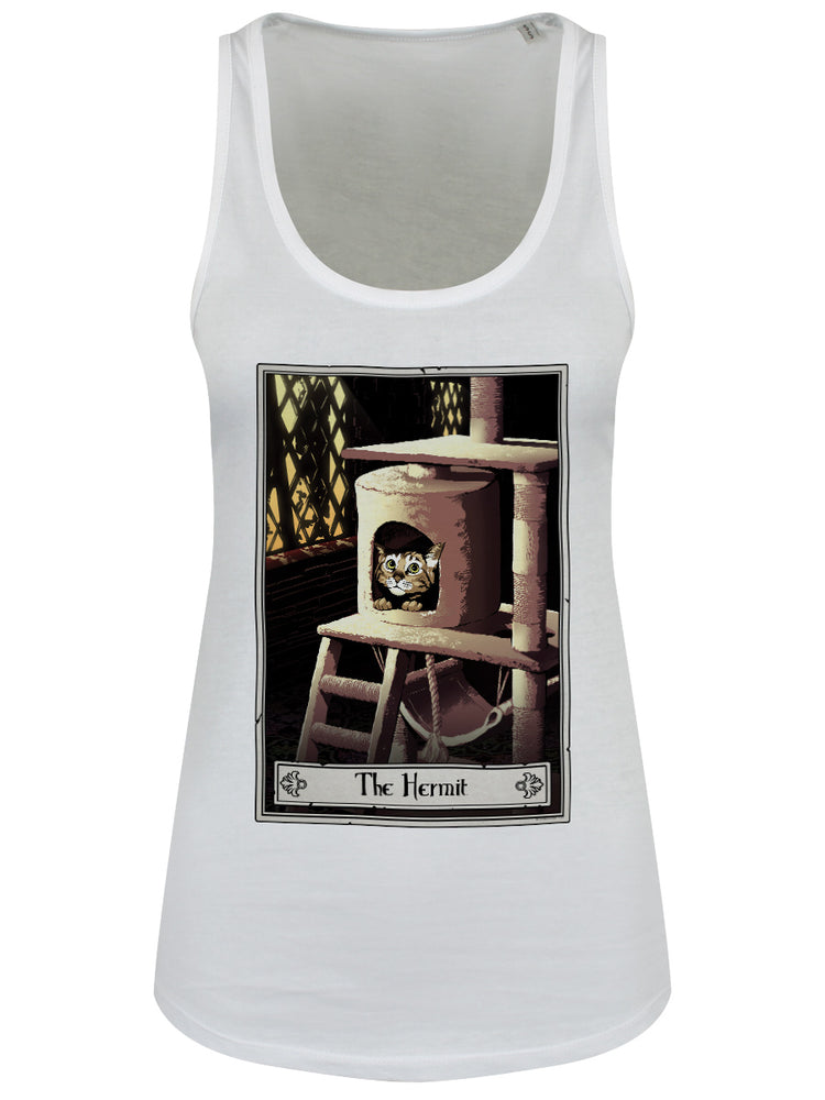 Deadly Tarot Felis - The Hermit Ladies White Floaty Tank