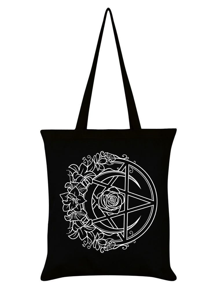 Requiem Collective Monochrome Pentacle Black Tote Bag