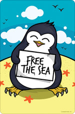 Psycho Penguin Free The Sea Small Tin Sign