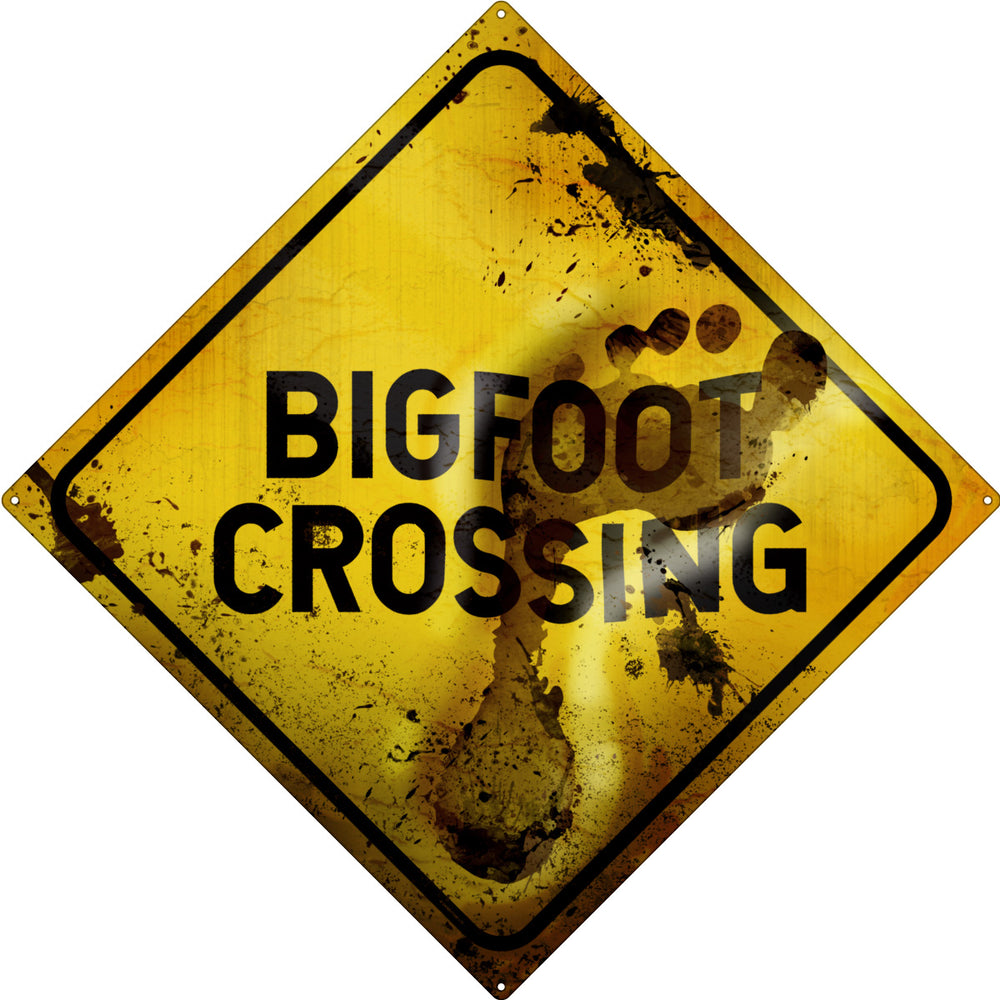 Big Foot Crossing Square Tin Sign