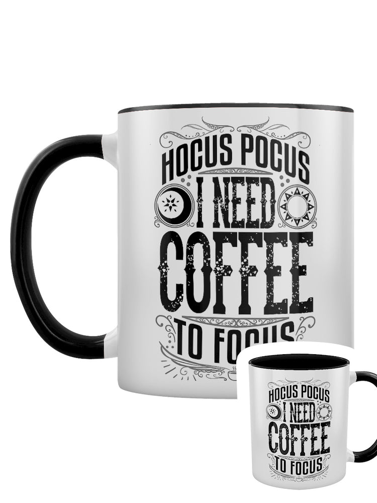 Hocus Pocus I Need Coffee To Focus Black Inner 2-Tone Mug