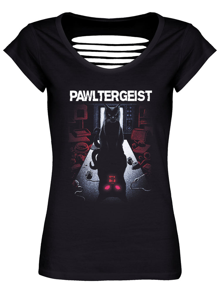 Pawltergeist Ladies Black Razor Back T-Shirt