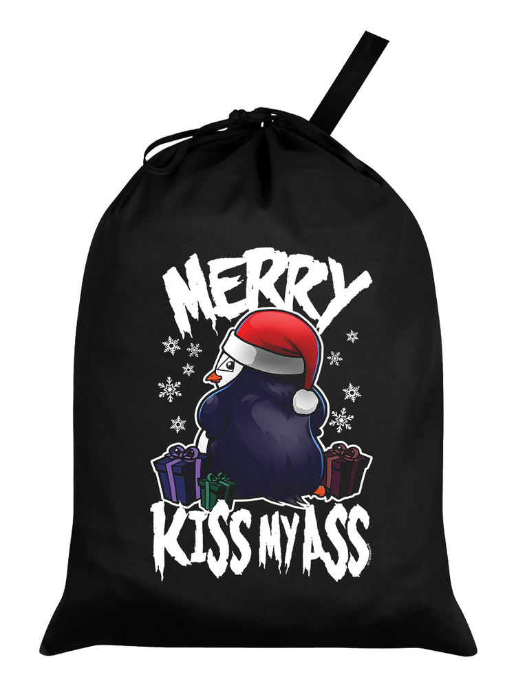 Psycho Penguin Merry Kiss My Ass Black Santa Sack