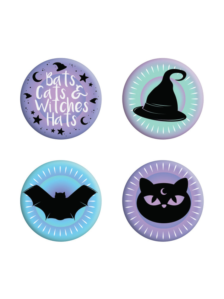 Bats, Cats & Witches Hats Pastel Goth Badge Pack