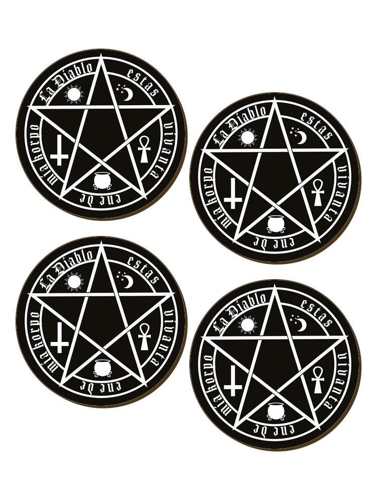The Devil Is Living In My Flesh Satanic 4 Piece Coaster Set
