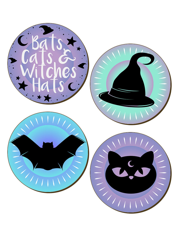 Bats, Cats & Witches Hats Pastel Goth 4 Piece Coaster Set