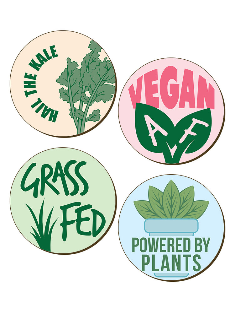 Hail The Kale Vegan Vegetarian 4 Piece Coaster Set