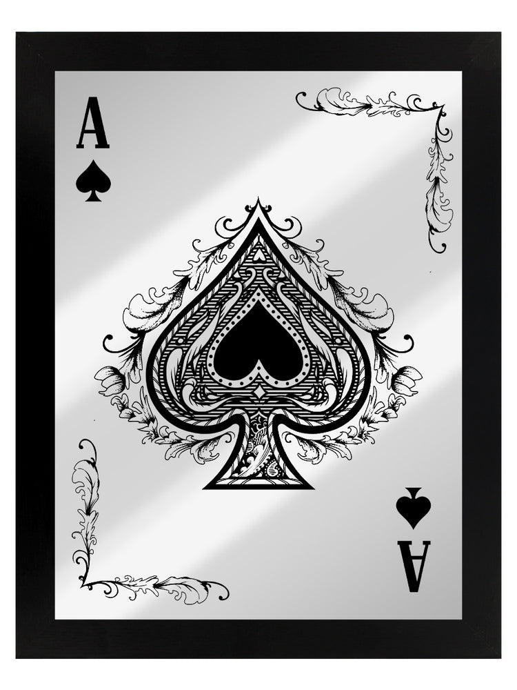Framed Ace Of Spades Mirrored Tin Sign