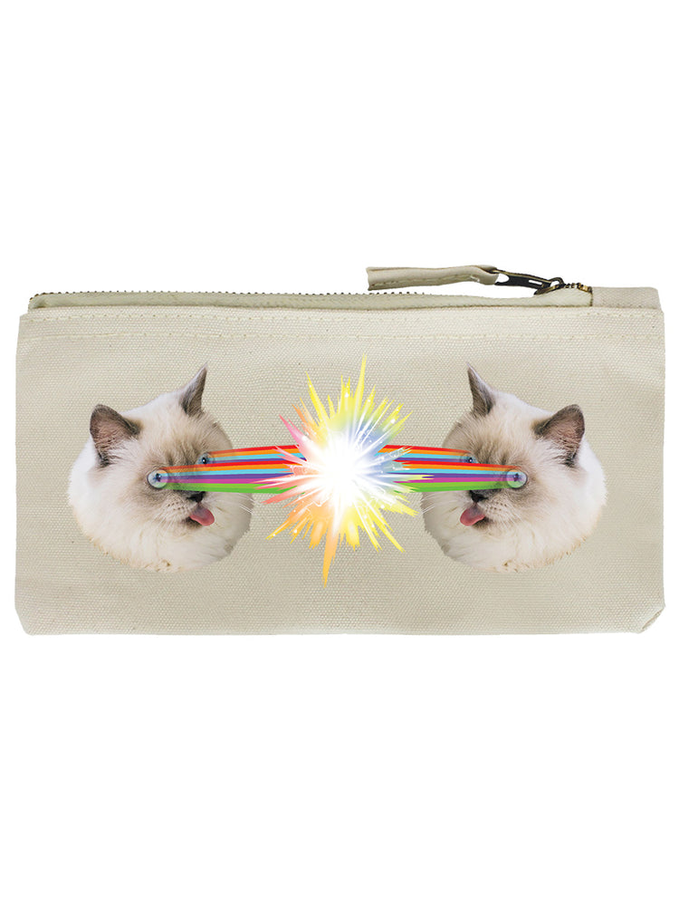 Crazy Laser Kitten Cream Pencil Case