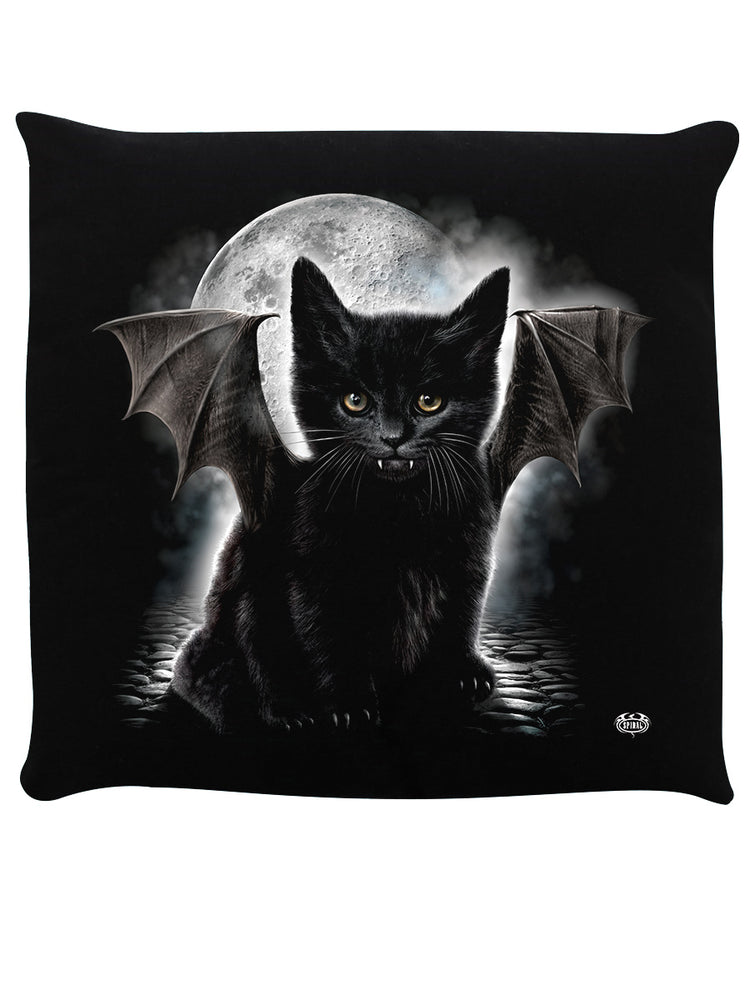 Spiral Bat Cat Black Cushion