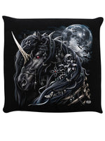 Spiral Dark Unicorn Black Cushion