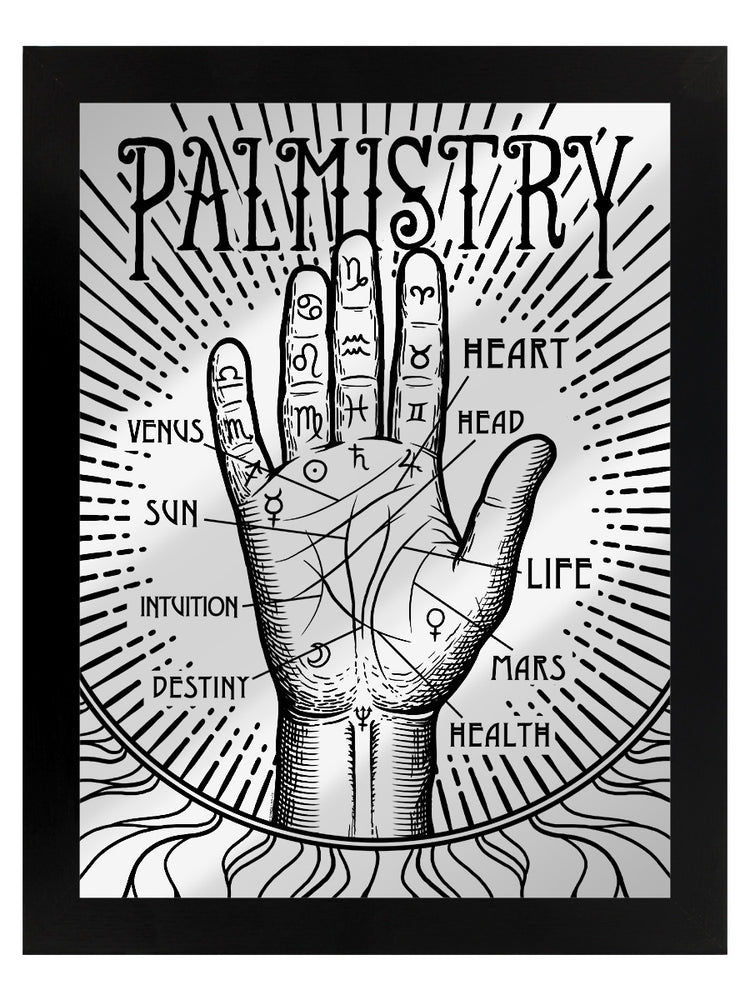 Framed Palmistry Mirrored Tin Sign