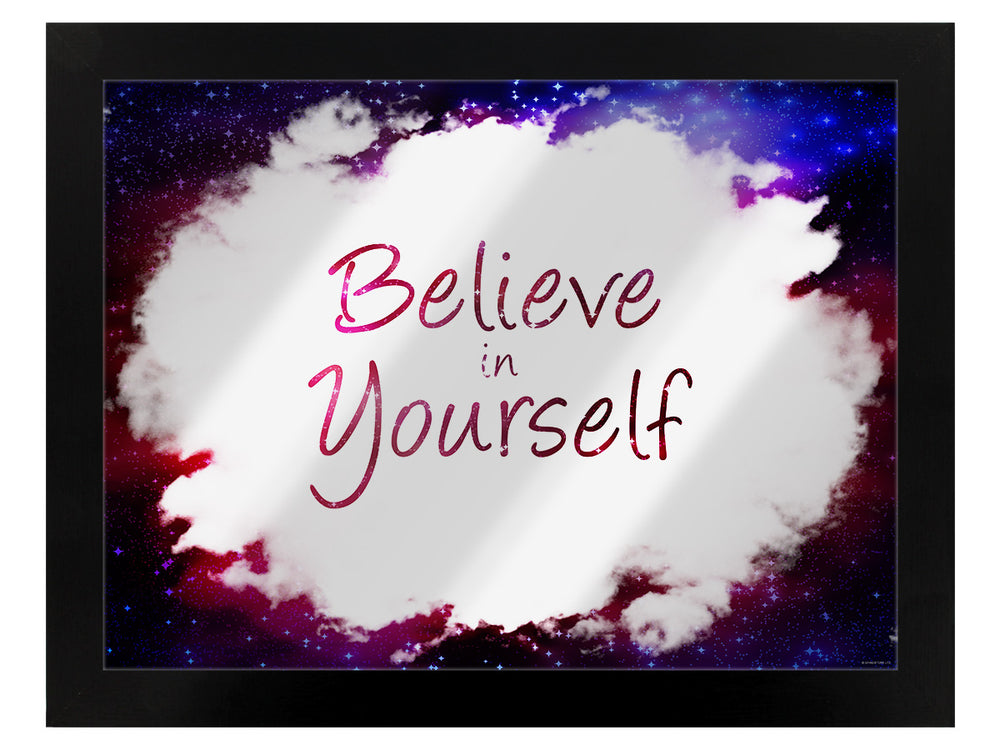 Framed Believe In Yourself Mirrored Tin Sign