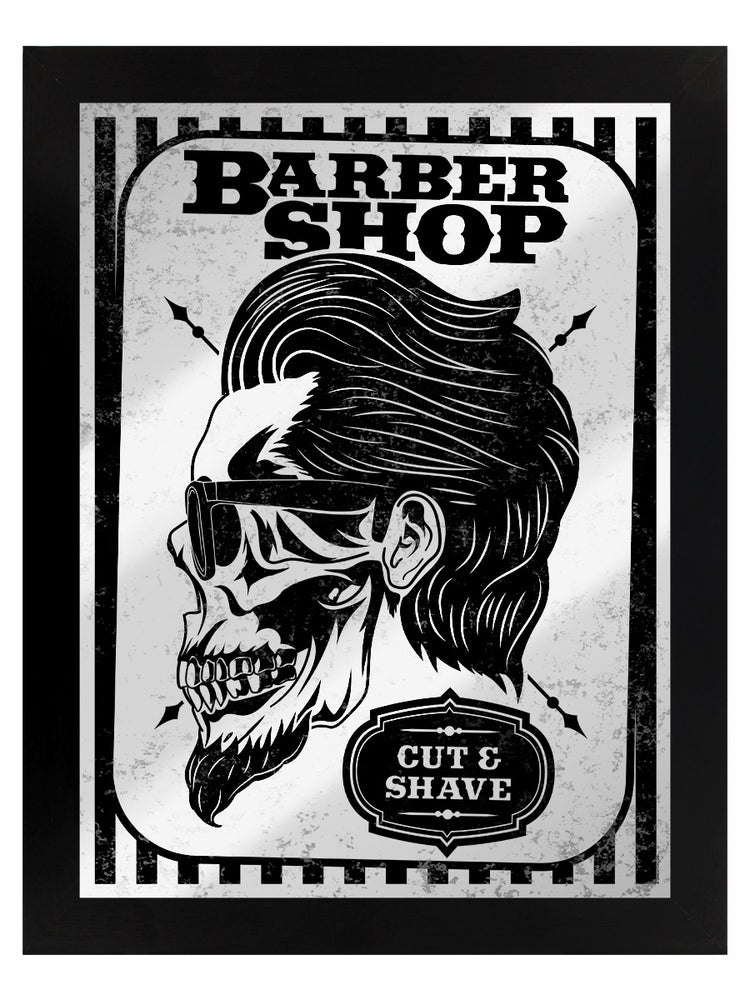Framed Barber Shop Cut & Shave Mirrored Tin Sign